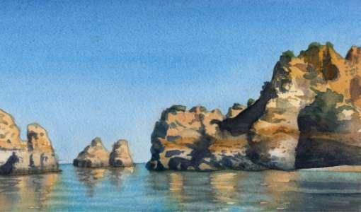 Stein, Strand & Steilküste in Aquarell